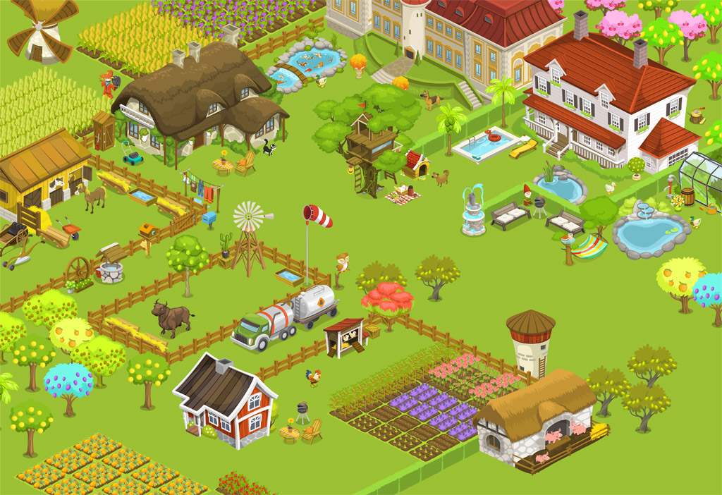 Vector Drawing Lines Game : Farm game vector graphics design mirkku