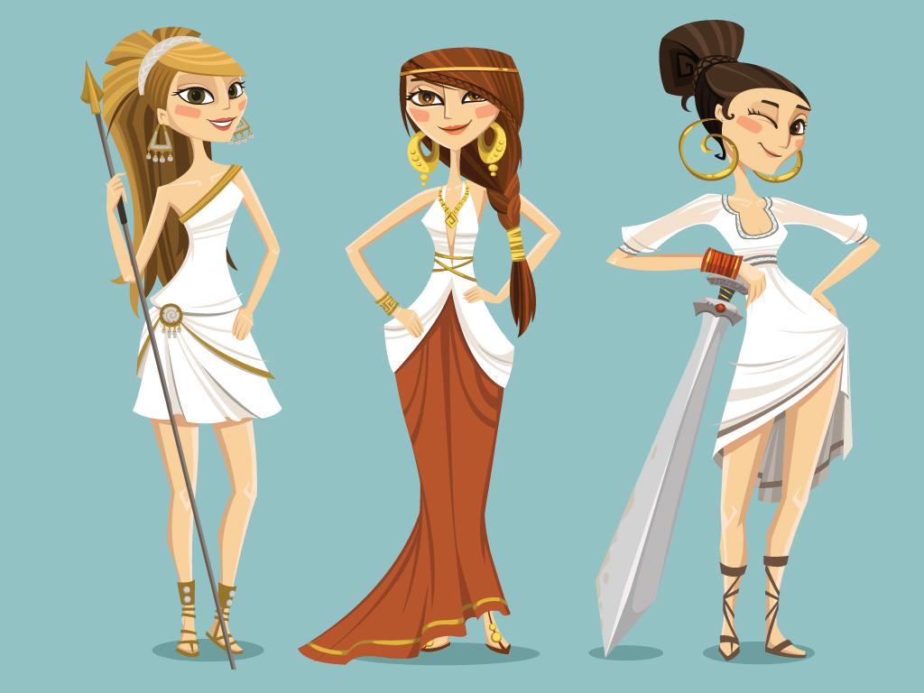 greek themed characters girls mirjami manninen finnish illustrator