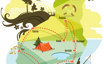 Summer traveling in Finland Vector illustration