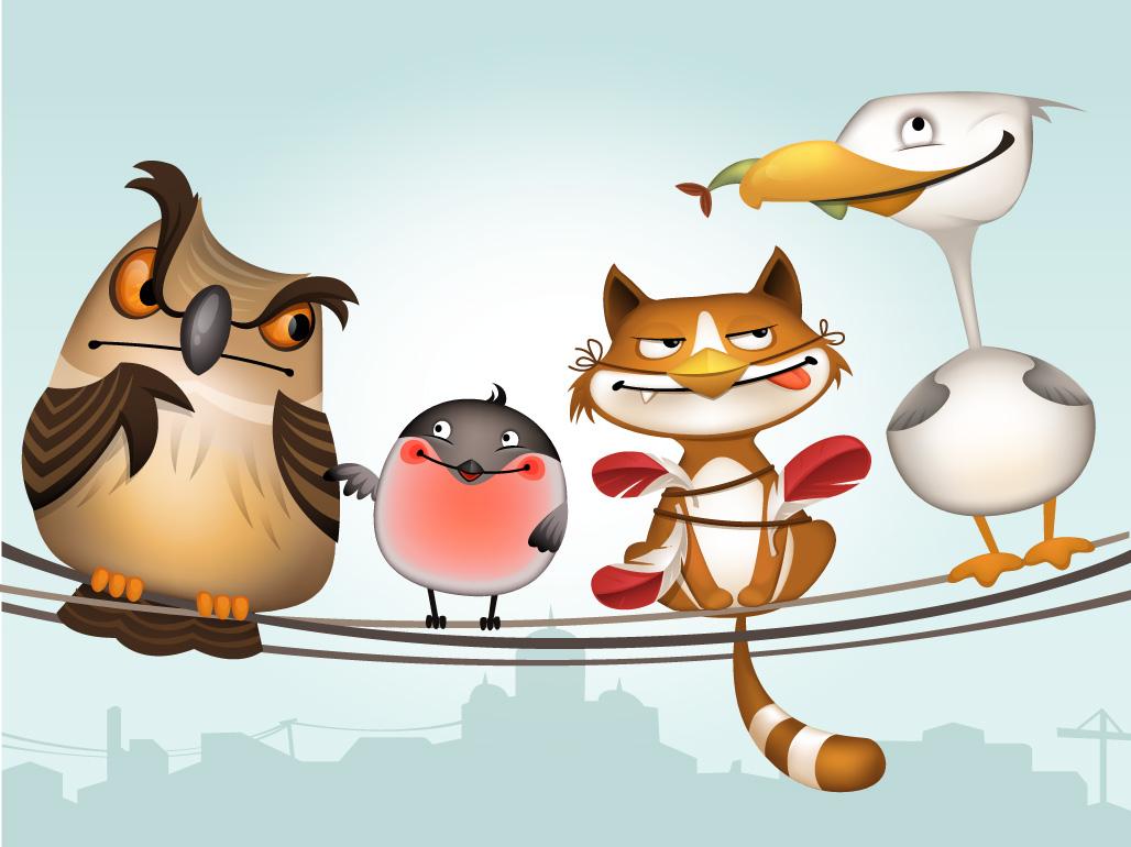 Full of life birds character design