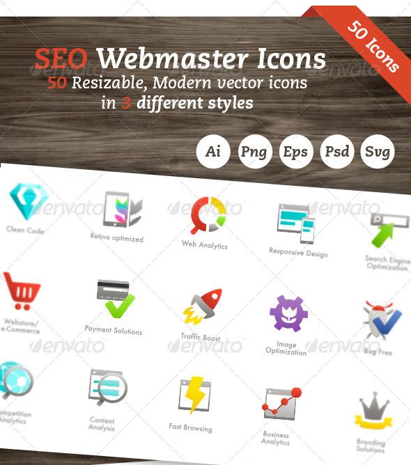 Seo Webmaster Vector Icon Set